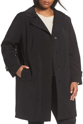 Gallery A-Line Raincoat with Detachable Hood & Liner (Plus Size)