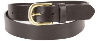 Montauk Leather Club 1-1/4 in. US Steer Hide Leather Men's Dress Belt with Curved Gold Color Finish Buckle