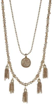 Melrose and Market Druzy Beaded Double-Strand Tassel Necklace