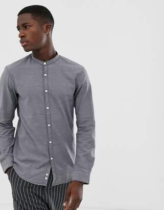 Tom Tailor grandad collar slim fit shirt in grey