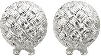 Sterling Basket-Weave Omega Back Earrings