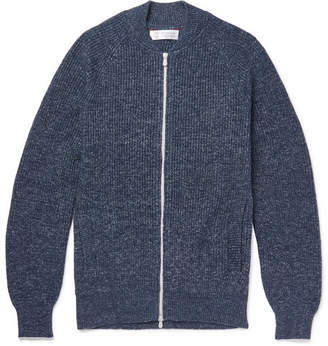 Brunello Cucinelli Slim-Fit Melange Cotton Zip-Up Cardigan - Men - Blue