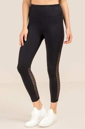 francesca's Greer Crochet Side Legging - Black