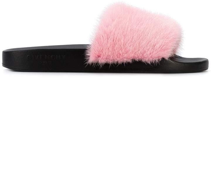 Givenchy Pink Fur strap slides