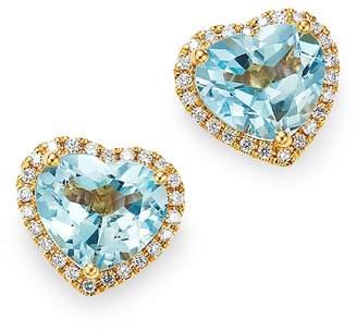 Kiki McDonough 18K Yellow Gold Grace Blue Topaz & Diamond Heart Earrings