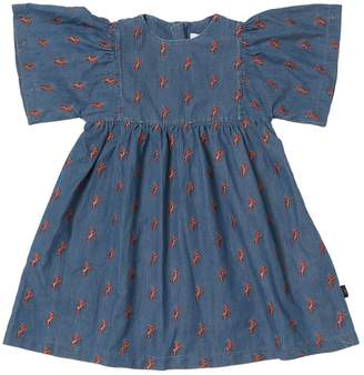 Chloé Embroidered Horses Chambray Dress