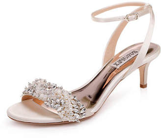 62f3dc5ff0f Badgley Mischka Fiona Embellished Satin Kitten-Heel Sandals