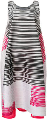 Pleats Please Issey Miyake asymmetric multi-stripe dress