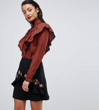 Fashion Union Tall Check Shirt With Ruffle Layer