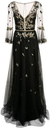 Marchesa floral embroidery gown