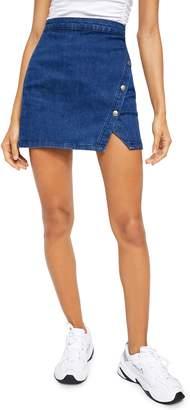 Free People Notched Denim Miniskirt
