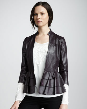 ALICE by Temperley Page Ruffle-Hem Leather Jacket