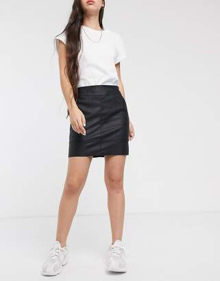 Only faux leather mini skirt