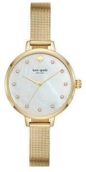 Kate Spade Metro Three-Hand Stainless Steel Crystal Mesh Bracelet Watch