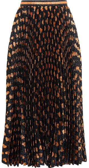 Gucci - Pleated Printed Lamé Skirt - Black
