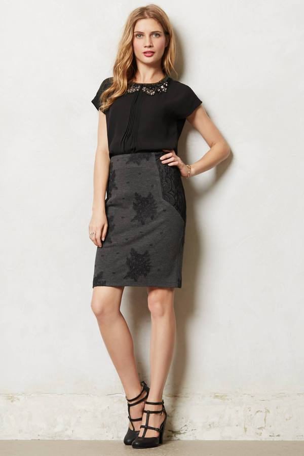 Anthropologie Shadowlace Pencil Skirt