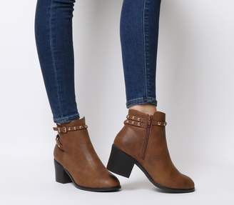 e3413846f185 Office Attract Stud Ankle Strap Boots Tan With Gold Studs