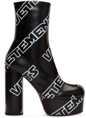 Vetements Black Printed Logo Platform Boots