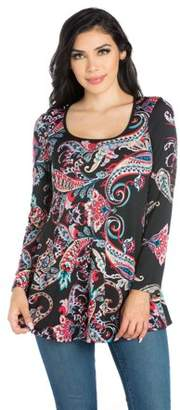 24seven Comfort Apparel Women's Paisley Long Sleeve Tunic Top