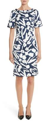 Oscar de la Renta Painted Floral Cloque Dress