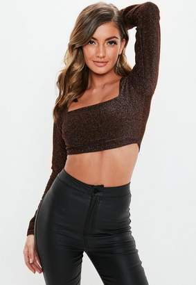 Missguided Bronze Shimmer Square Neck Crop Top