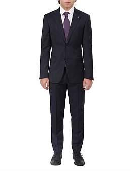 Studio Italia Notch Lapel Window Pane Wool Suit Jacket