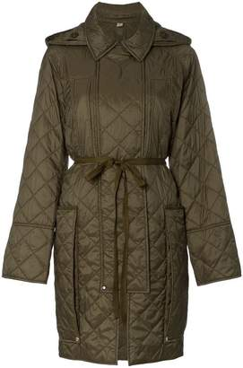 Burberry Quilted hooded oversized pocket coat