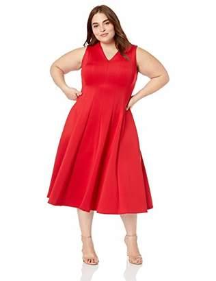 Calvin Klein Women's Plus Size Sleeveless A Line Midi Dress with V Neckline