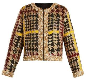 Ashish Collarless Hound's Tooth Sequin Embellished Jacket - Womens - Multi