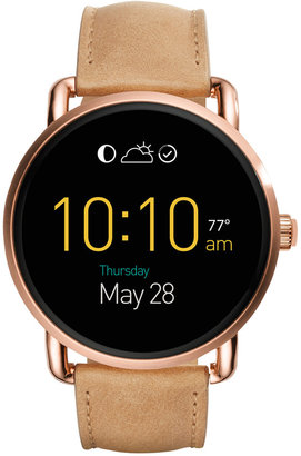 Fossil Q Wander Light Brown Leather Strap Touchscreen Smart Watch 45mm FTW2102 $255 thestylecure.com