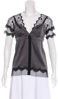 John Galliano Lace-Accented Satin Blouse