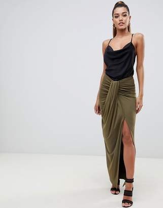 Asos DESIGN drape front maxi skirt