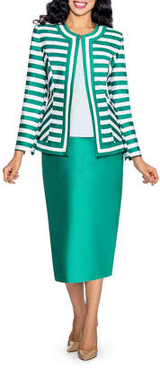 GIOVANNA COLLECTION Giovanna Collection Women's Size Non-Collar Stripe 3-Piece Skirt Suit