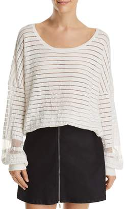 French Connection Astra Mesh-Inset Striped Sweater