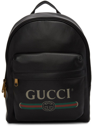 Gucci Black Vintage Logo Backpack
