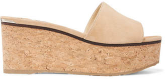 Jimmy Choo Deedee Suede Wedge Mules - Camel