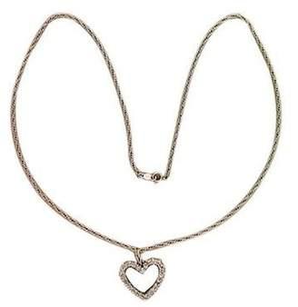 Vintage 14K White Gold 0.75ct Diamond Pendant Rope Chain Necklace