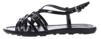 Prada Sport Patent Leather Crossover Sandals