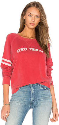 MOTHER Switching Teams The Square Sweatshirt in Red $138 thestylecure.com