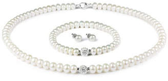 Tag Heuer FINE JEWELLERY 6-9MM Pearl Necklace, Bracelet and Earrings Set with 8MM Crystals