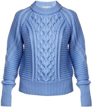 Mary Katrantzou Lance Ribbed Cable Knit Sweater - Womens - Light Blue