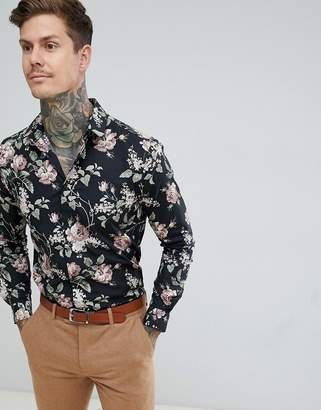 Twisted Tailor skinny fit shirt in dark floral print
