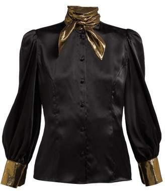 Edeltrud Hofmann - Nico High Neck Silk Blouse - Womens - Black Gold