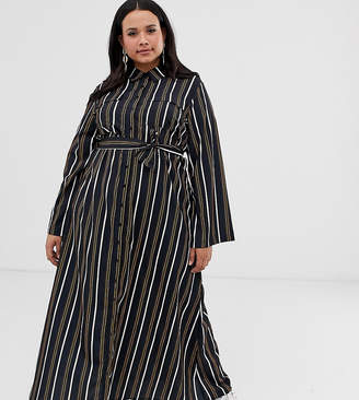 Verona Curve long sleeved woven shirt dress with tie detail in multi stripe