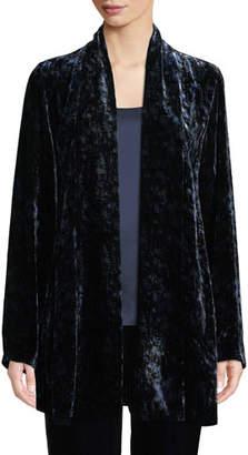 Eileen Fisher Long Printed Velvet Shawl-Collar Jacket