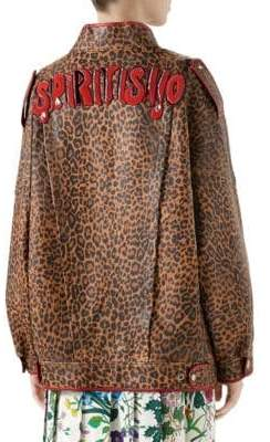 Gucci Leopard Print Leather Jacket