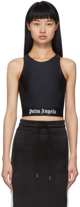 Palm Angels Black Cropped Tape Tank Top