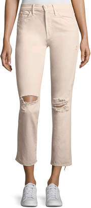 Mother High-Waist Straight-Leg Distressed Ankle Jeans