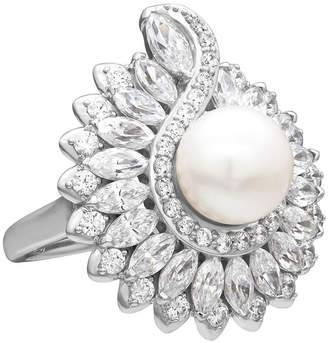 Swarovski SOFIA Cultured Freshwater Pearl & Cubic Zirconia Sterling Silver Ring