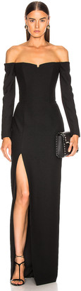 Rasario Cold Shoulder Corset Gown in Black | FWRD